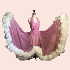 Bella Bordello STUNNING Vintage Showgirl Burlesque Costume Dress Pink Backless Halter Dripping in White Feathers Boa