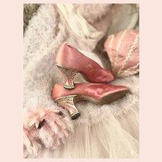 Antique 1920's Flapper Shoes Celluloid MOP Rhinestone Heels Pink Silk