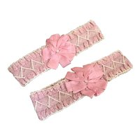Pair Antique Boudoir Pink Silk Ribbonwork Garters