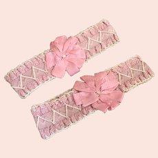 Pair Antique Boudoir Pink Silk Ribbonwork Garters