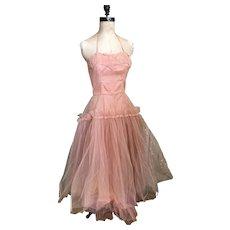 Bella Bordello Vintage Designer Emma Domb Pink Prom Dress Shabby Chic Halter