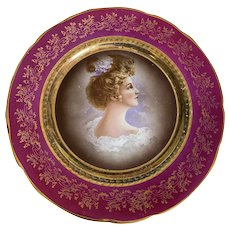 Bella Bordello Antique Early 1900's Victorian Plate Magenta Pink gold Filigree Portrait Gibson Girl