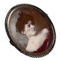 Bella Bordello Antique Woman Portrait Brooch Pin