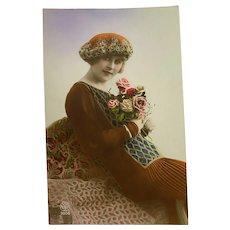 Antique French Postcard Woman Classic Flapper Era Dress Baret Hat Rose Bouquet