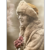 Antique French Postcard Flapper Woman in Fur Coat Hat Pink Flower Bouquet