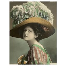 Antique French Postcard Woman in Lace Fringe Shawl Rose millinery and Huge Hat Green White Ostrich Feathers