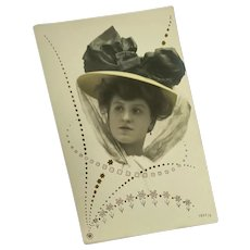 Antique French Postcard Woman in Bonnet Hat Organdy Silk Ribbon Bow Pink Gold Art Deco