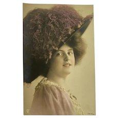 Antique French Postcard Woman Flapper Era Porcelain Face Huge Hat Plum Ostrich Feather Millinery Plume