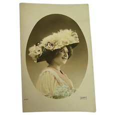 Antique French Postcard Woman Smiling Pink Dress Huge Millinery Hat Roses Feathers