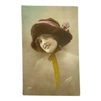 Antique French Postcard Nude Woman Fur Bonnet Ribbon Bow Flapper