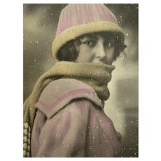 Antique French Postcard Flapper Era Woman Pink Wool Jacket Scarf Hat Winter Snow