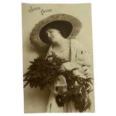 Antique French Postcard Woman Winter Long Ermine Fur Coat Wide Lace Hat Tree Foliage Wreath