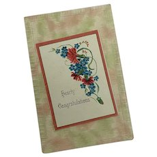 Antique Postcard Mock Carpet Ikat Watered Pastel Booklet Forget Me Not Floral Hearty Congratulations