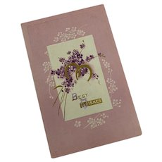 Antique Unused Postcard Best Wishes Pink Purple Hydrangea Gold Horseshoe Shabby Chic