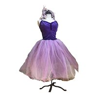 Bella Bordello Vintage Ballet Tutu Costume Dress Purple Velvet Tulle Lace