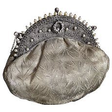 Bella Bordello Antique Vintage French Silver Lame Flapper Handbag Purse Filigree Frame Faux Pearls