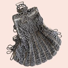 Antique Hand Woven Micro Steel Cut Beaded Coin Purse Silver Frame Clasp