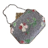 Bella Bordello Antique Glass Beaded Framed Box Purse Dusty Blue Pink Flowers Jeweled Clasp