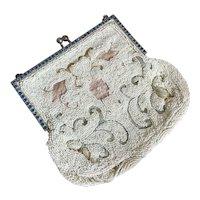 Bella Bordello Antique Pastel Beaded Purse Petite Embroidered Crewel Work Jewel Encrusted Frame