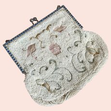 Bella Bordello Antique Pastel Beaded Purse Petite Embroidered Crewel Work Jewel Encrusted Frame