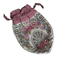 Bella Bordello Antique Glass Beaded Purse Art Nouveau Pink Roses