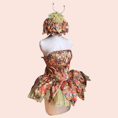 Bella Bordello Vintage Ballet Dance Showgirl Costume Rainbow Lamé Petal Tutu Matching Hat Antenna Jewels