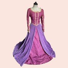 Vintage Renaissance Princess Costume Dress Purple Velvet Dark Pink Taffeta