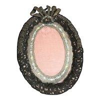 Bella Bordello Antique French Ribbonwork Frame Passementerie Metallic Lace Pink Boudoir Bow