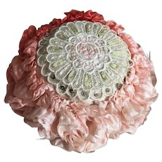 Bella Bordello Antique Vintage Peach Ombré Silk Ribbonwork Pin Cushion Boudoir