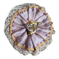Bella Bordello Antique Vintage Ribbonwork Boudoir Powder Puff Box Pink Lilac silk Lace Trim