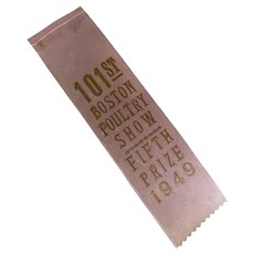 Vintage 1949 Pale Pink Gold Poultry Show Farm Fair Award Ribbon