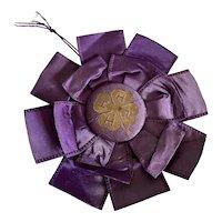 Vintage Ribbon Rosette Award 4H Timeworn Purple