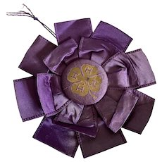 Vintage Ribbon Rosette Award 4H Timeworn Purple