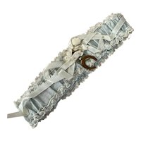 Vintage Wedding Bridal Garter Pastel Blue Lace Ribbon Bow Millinery Flowers Brass Horseshoe Marked Kentucky
