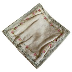 Bella Bordello Vintage Hankie Delicates Holder Peach Satin Ruched Ribbonwork Hand Painted Flowers