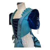 Incredible Antique French Bodice Silk Velvet Blue Corset Lace Sleeves Long Ribbon Bow Sash