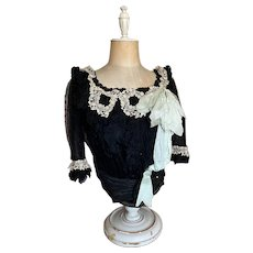 Stunning Victorian Bodice Black Net Lace Bodice Sash Blue Silk Bow Floral Lace Accent