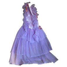 Vintage Ballet Costume Tutu Lavender Satin Bodice Ruffled Sheer Layers Pink Millinery Flower Accent