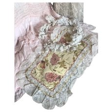 Bella Bordello Antique Watered Silk Floral Vanity Dresser Panel Doily Lace Trim