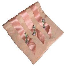 Bella Bordello Vintage Peach Ribbonwork Rosette Hankie Holder Keeper Shabby Chic Boudoir