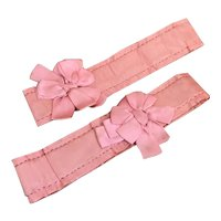 Bella Bordello Vintage Pink Silk Garters Ribbonwork Bows