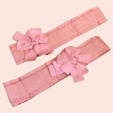 Bella Bordello Vintage Pink Silk Garters Ribbonwork Bows