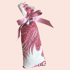 Bella Bordello Lavender Sachet Made With Antique French Fabric Red Indienne With Pink Satin Vintage Bow