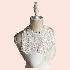 Bella Bordello Antique Embroidered & Ruffled Lace Collar Dickey Jet Glass Button Accent