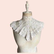 Bella Bordello Antique White Silk Insert Lace Trim Collar Dickey
