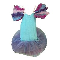 Bella Bordello Vintage Girls Ballet Costume Tutu Rainbow Blue Purple Pink Tulle Lace Puff Sleeves