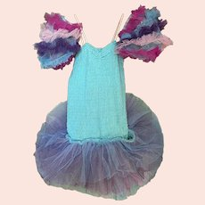 Bella Bordello Vintage Girls Ballet Costume Tutu Rainbow Blue Purple Pink Tulle Lace Puff Sleeves