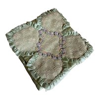 Bella Bordello Vintage Hankie Delicates Holder Mint Satin Ribbonwork Lace