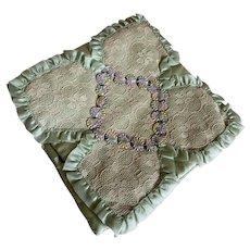 Bella Bordello Vintage Hankie Delicates Holder Mint Satin Ribbonwork Lace