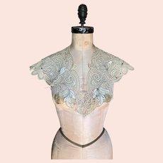 Bella Bordello RARE Design Antique 19th French Lace Collar Shrug Battenburg Silk Insert Black Accent